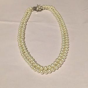 Banana Republic Double Strand Faux Pearl Necklace